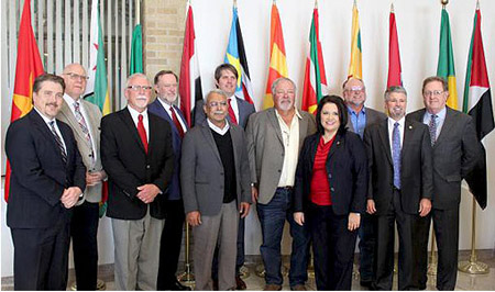 The Members of Breedlove's Board in the Hall of Nations at Texas Tech University